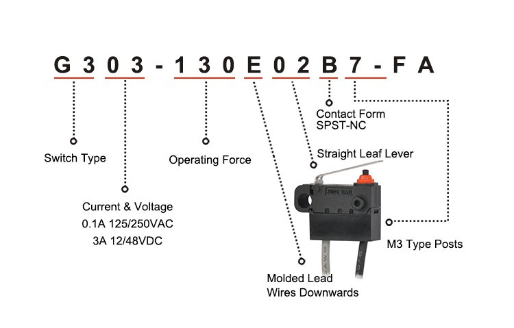 G303-130E02B7-FA SPST Normally Closed Straight Lever Waterproof Micro Switch with Wire