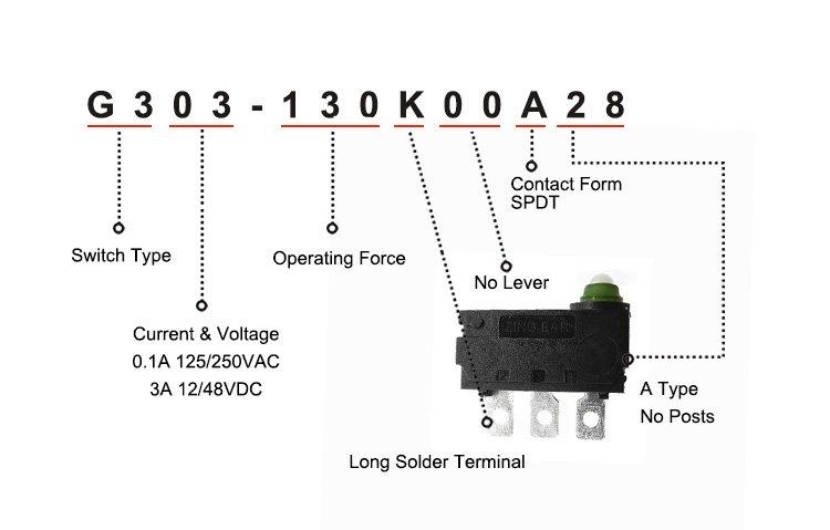 G303-130K00A28 Waterproof Pin Plunger SPDT Mini Micro Switch t85 5e4 3a 125 250vac
