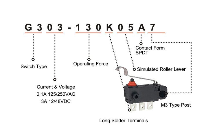 G303-130K05A7 SPDT Simulated Rollor Lever Waterproof Types Micro Sensor Switch