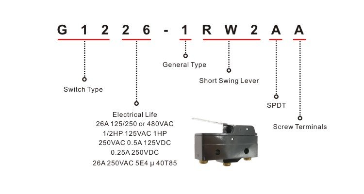 G1226-1RW2AA Lever Arm Snap Action Limit Switch