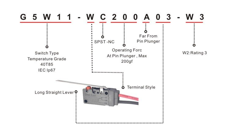 G5W11-WC200A03-W3 Normally Closed Snap Action Microswitch Micro Switch Replace for Honeywell Omron