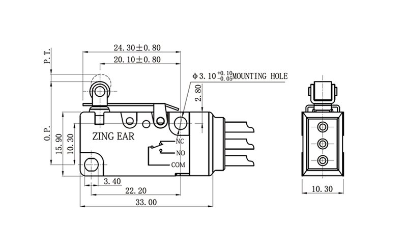 Wire SPDT Micro Switch with Roller Lever