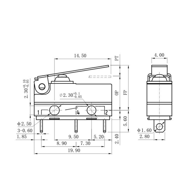 G905-200S02D1 Long Lever Mini SPDT Micro Switch