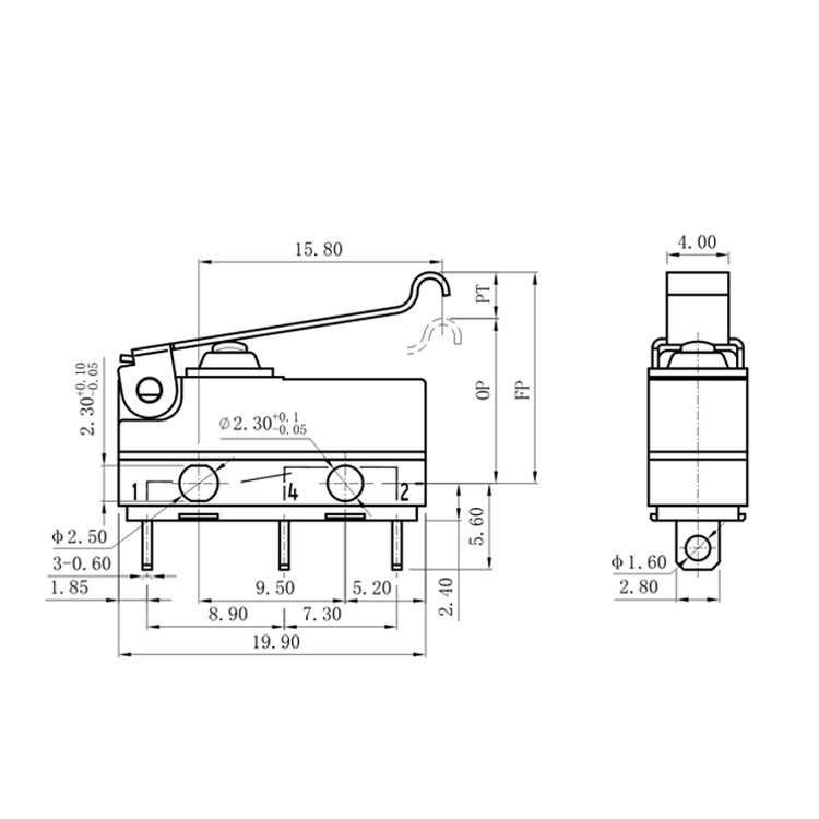 Small Simulated Roller ENEC Micro Switch 3 Pin