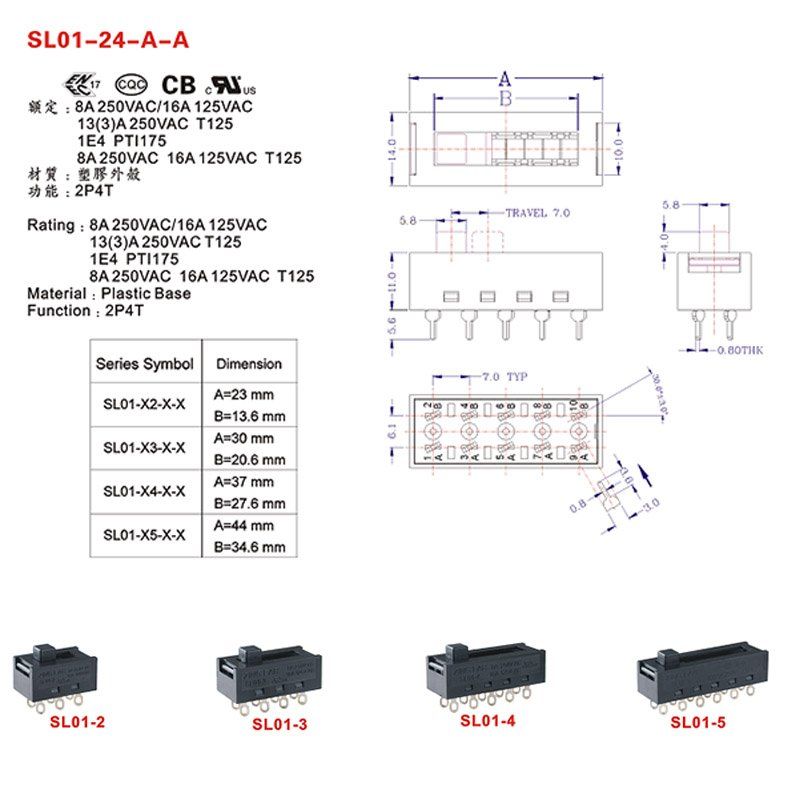 8 Position Pin DP4T Slide Switch