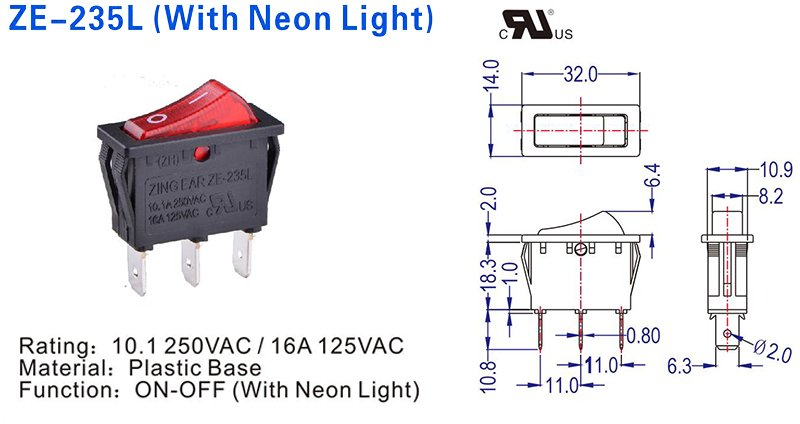 ZE-325L On-Off SPDT 3Way Illuminated Rocker Switch