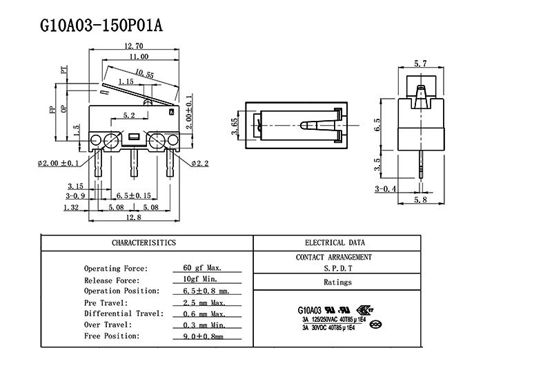 Ultra Miniature Micro Switch Drawing