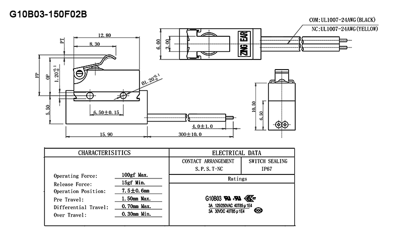 SPST NC IP67 Waterproof switch drawing