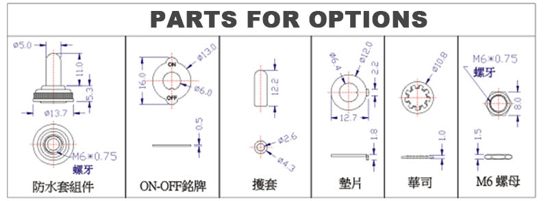 3 position Switch parts for options