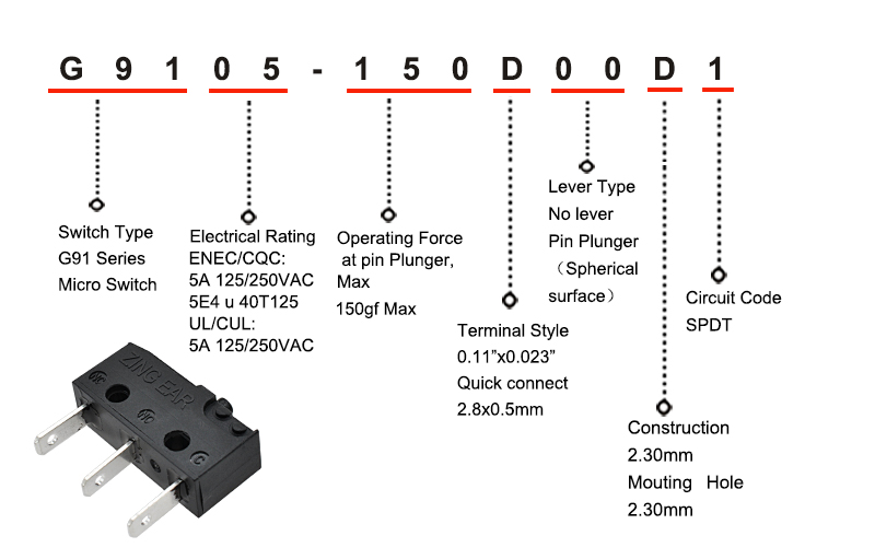 Microswitch Item Explain for G905 G9105-150D00D1