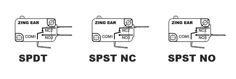 SPDT SPST Normally Closed and Open Micro Switch Compared