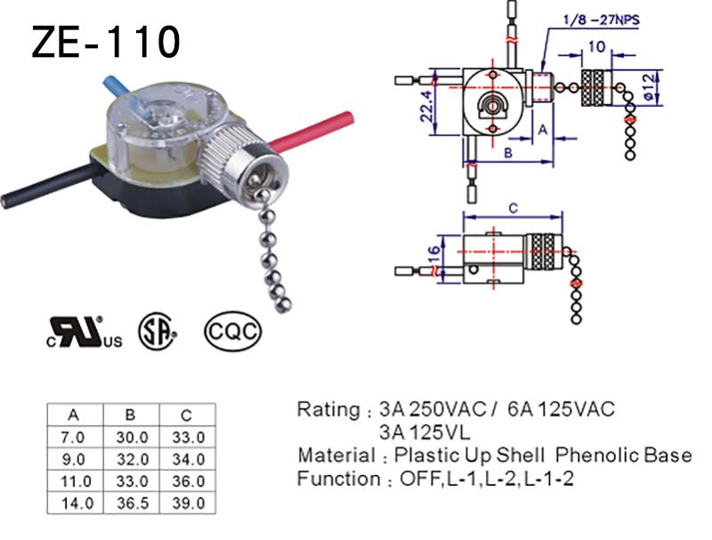 ZE-110 Zing Ear Pull Chain Switch For Celling Fan Datasheet