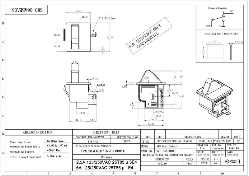 SWD Light Control Fridge Refrigerator Door Switch