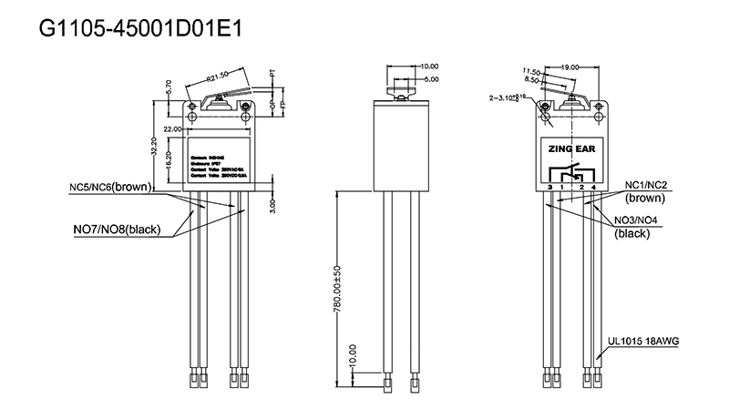 Zing Ear G11 Micro Limit Switch Drawing