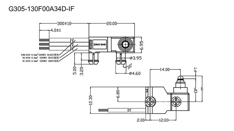 G305-130F00A34D 12V Micro Switch Drawing