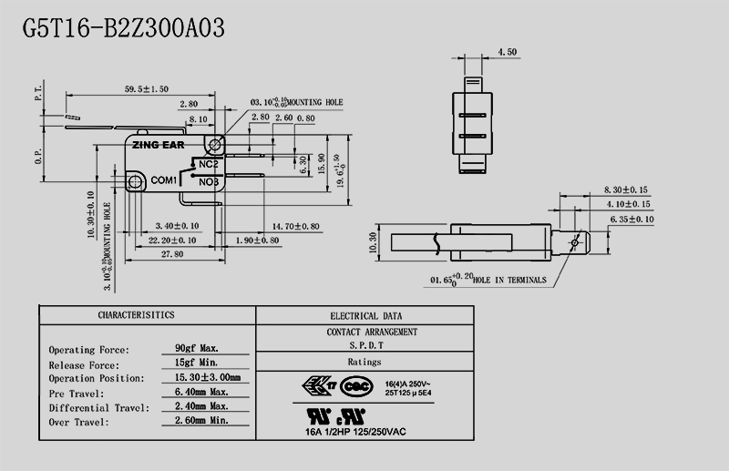 Long Lever Micro Switch Drawing