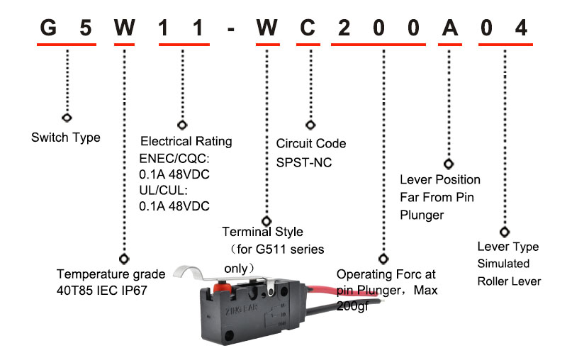 G5W11 Snap Action Microswitch Item Number