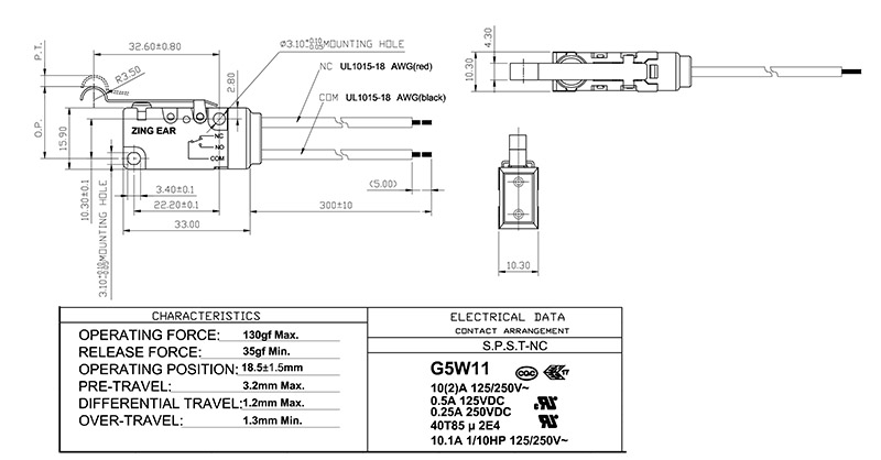 G5W11 Limit switch drawing