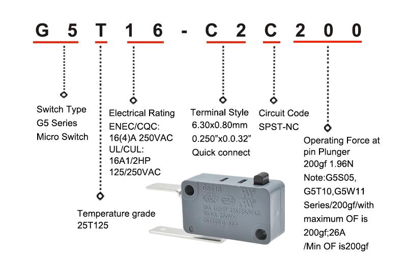 G5T16-C2C200-H1 Single Pole Single Throw Micro Switch Item