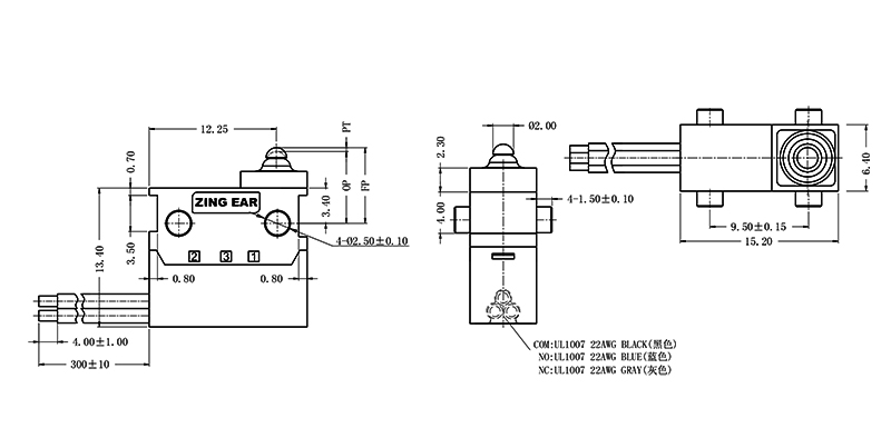 G303-075F00A9B Micro Switch Drawing