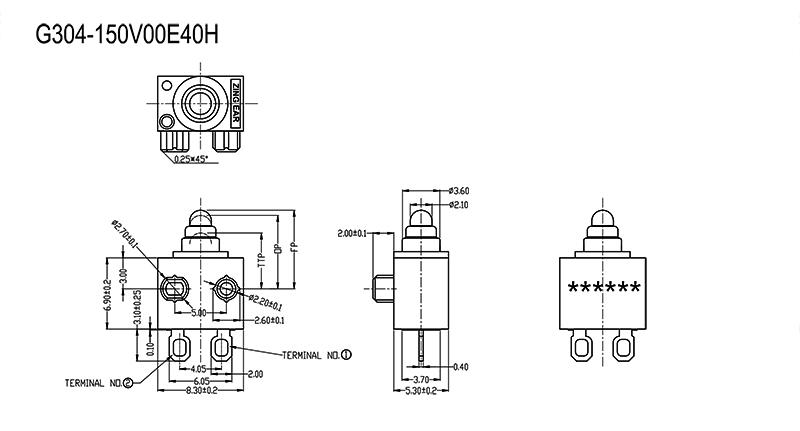 G304-150V00E40H mini micro switch drawing