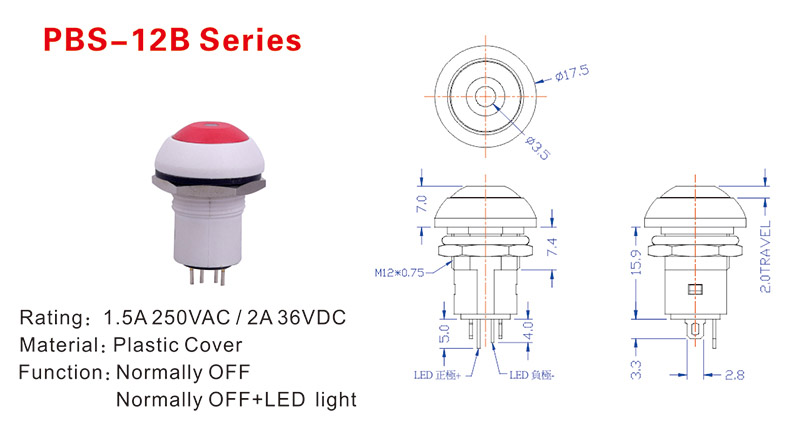 LED Push Button Switch Drawing