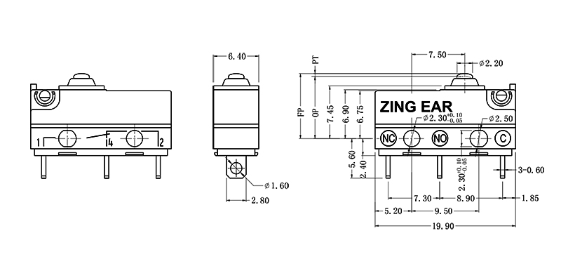 Micro Plunger Switch drawing
