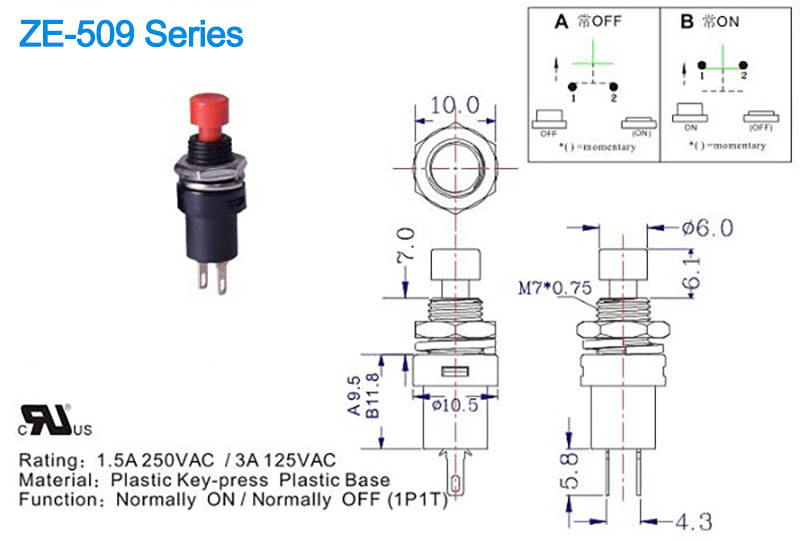 ZE-509 SPST push button switch drawing