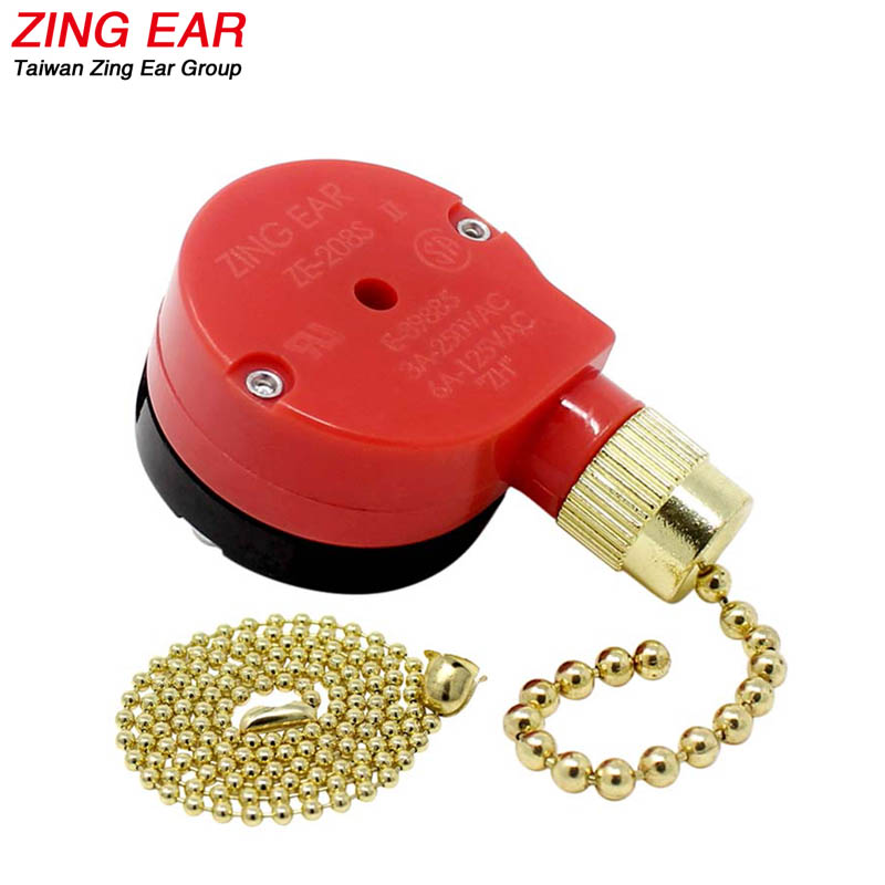 Zing Ear Ceiling Fan Switch Pull Chain 3 Speed 4 Wire 3A 6A