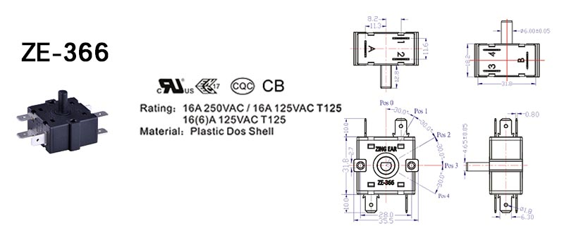 ZE-366 Rotary Switch Drawing