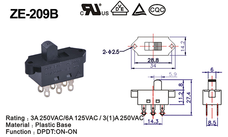 DPDT slide switch drawing