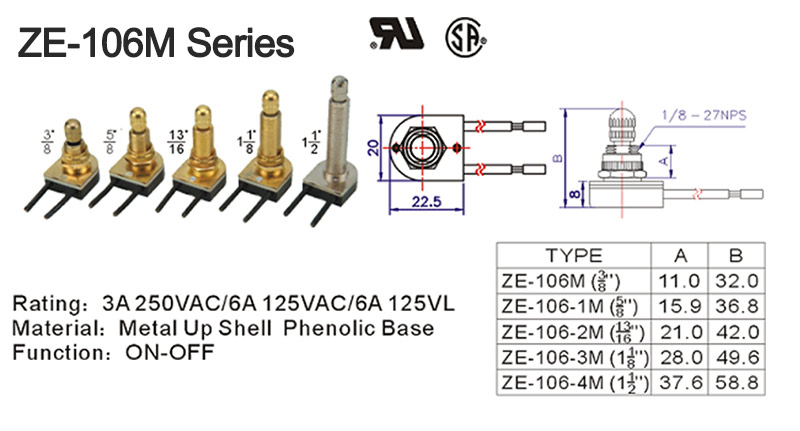 ZE-106M Rotary Switch Drawing