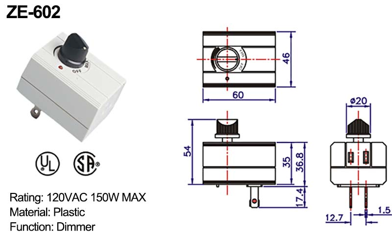 Rotary Dimmer Switch ZE-602 Drawing