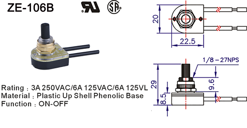 ZE-106B Lamp Rotary Switch Drawing