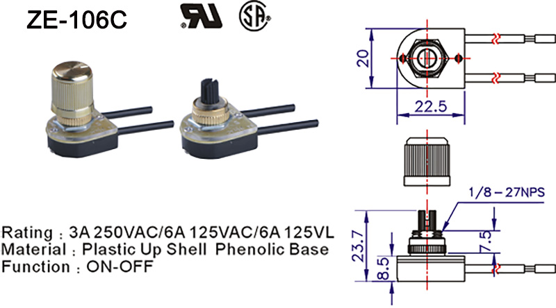 ZE-106C Rotary Lamp Switch Drawing