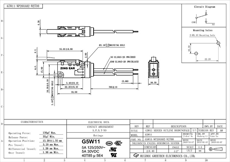 The G5W11-WP200A02-W2 switch drawing