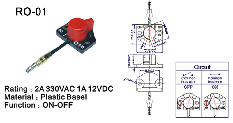 Rotating Switch ON OFF PO-01 Drawing