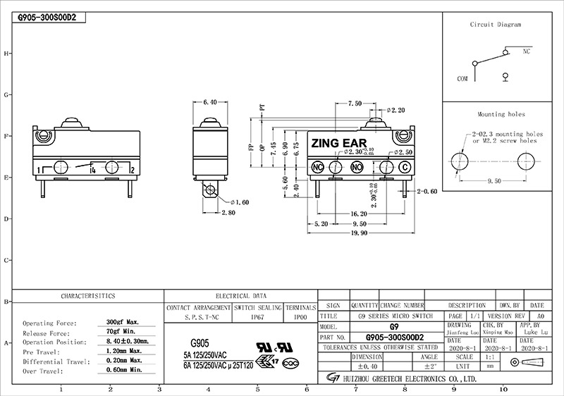Temperature Snap Switch SPST NC Microswitch Drawing