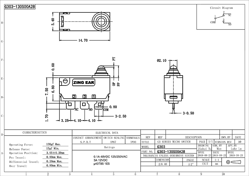 Subminiature Snap Action Switch Drawing